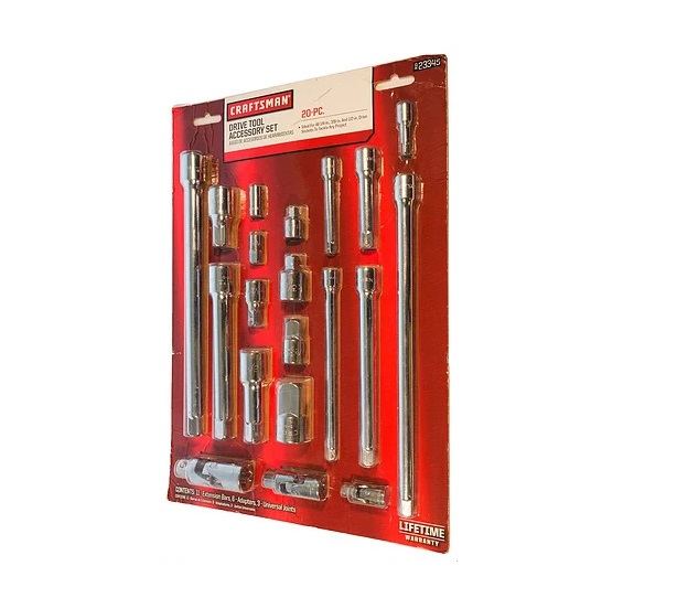 "Craftsman 20 Piece 1//4/"" 3//8/"" /& 1//2/"" Drive Extension Bar and Accessory Set"